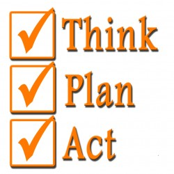 Three Check Boxes with think plan act written next to them
